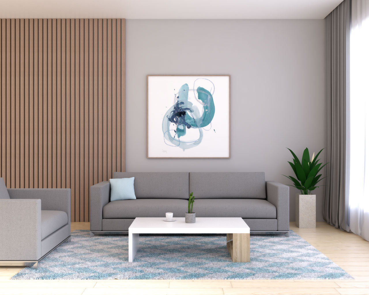 Gray living room with sky blue accent