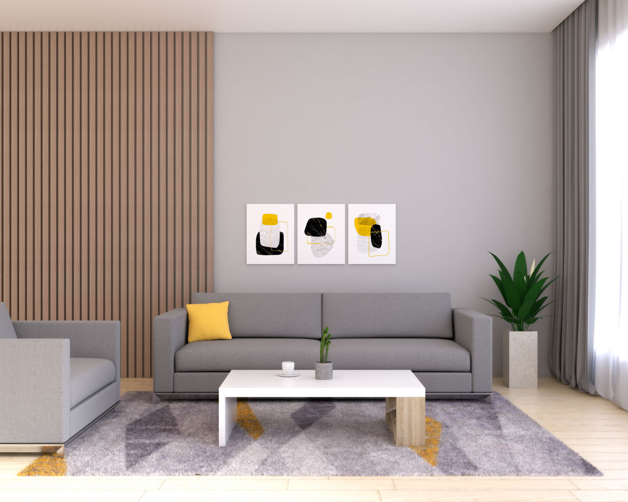Gray living room with mustard yellow accent