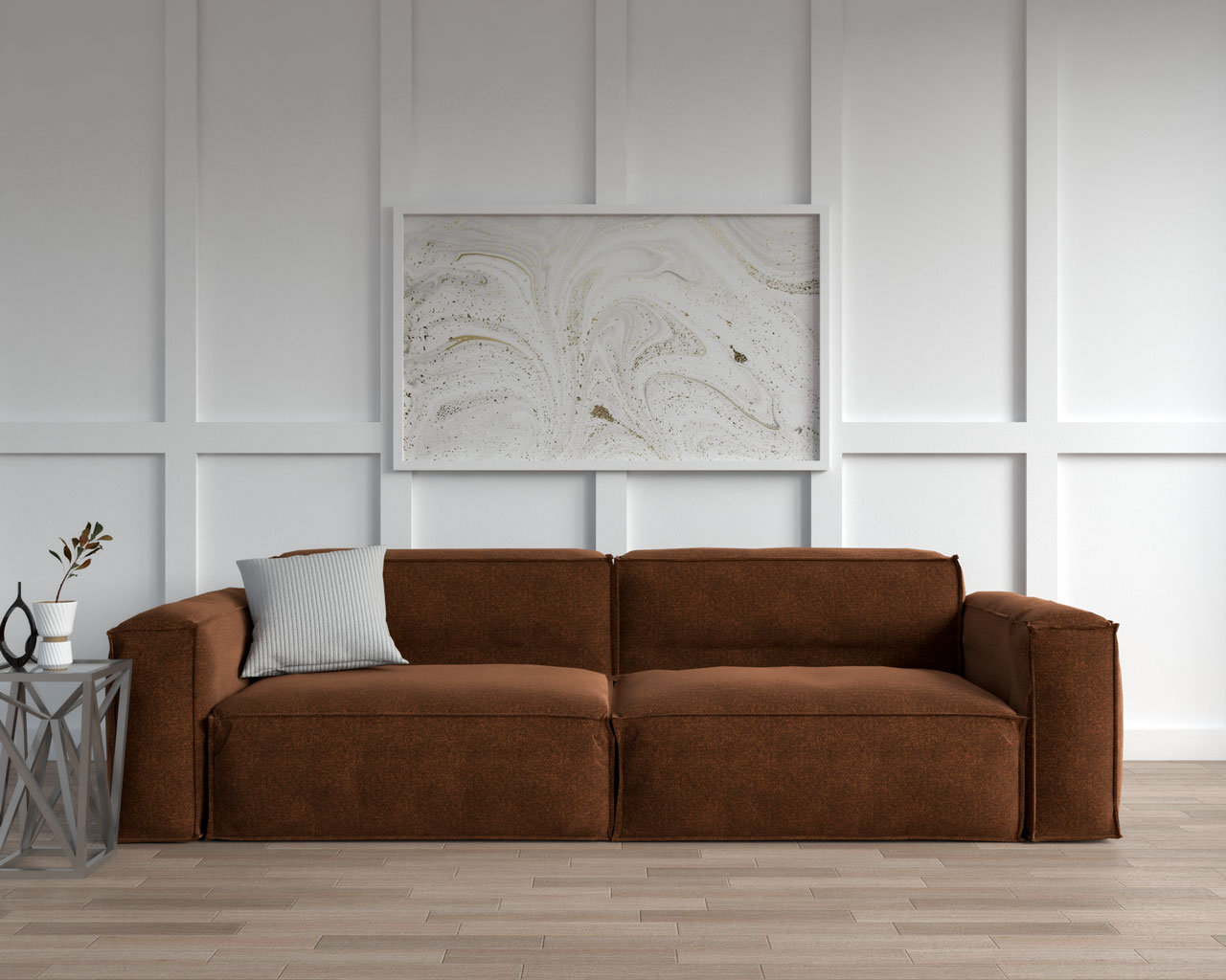 Brown couch with gray throw pillow