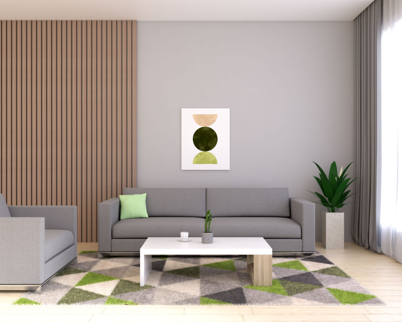 Gray living room with lime accent
