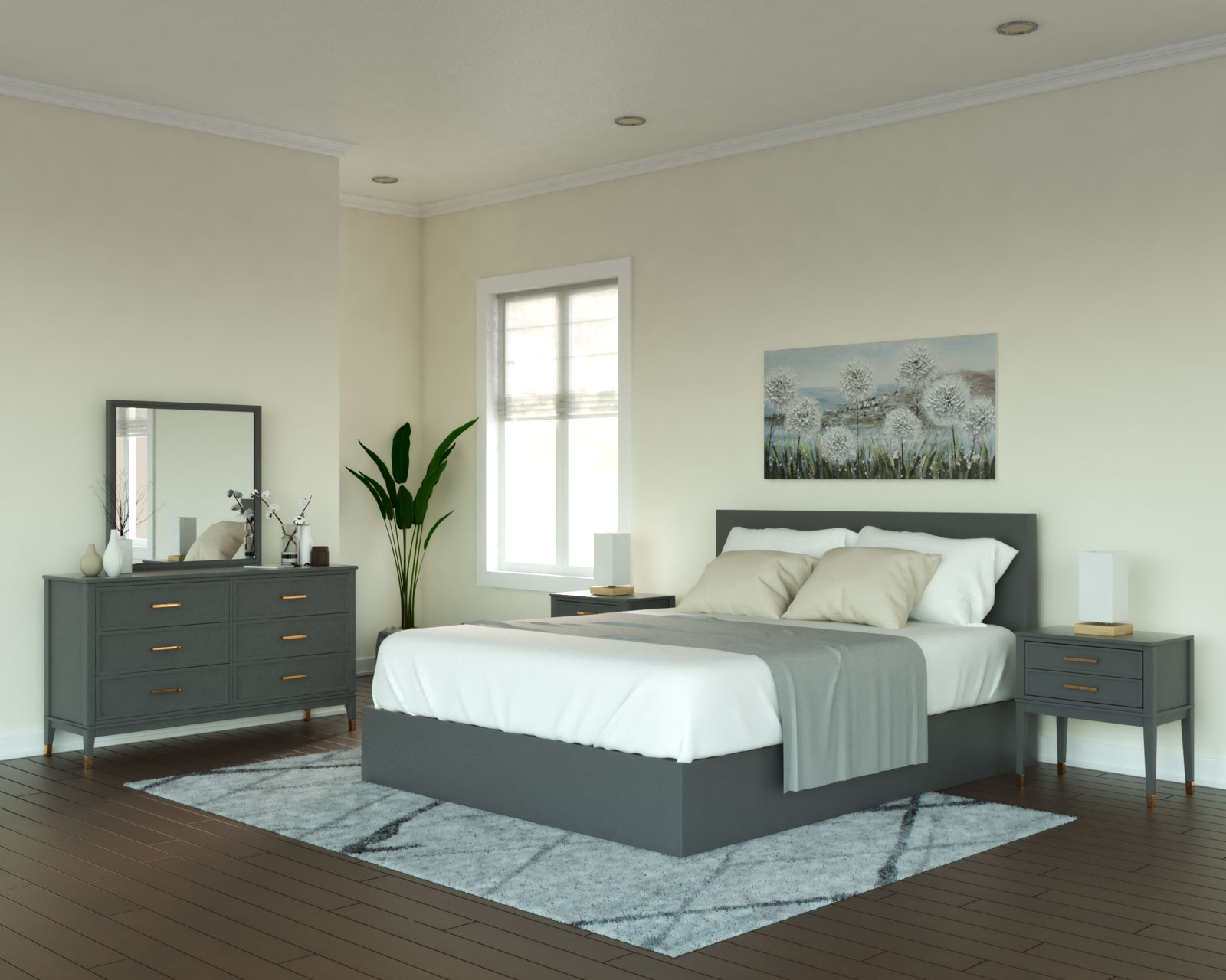 Ivory walls with gray bedroom furniture