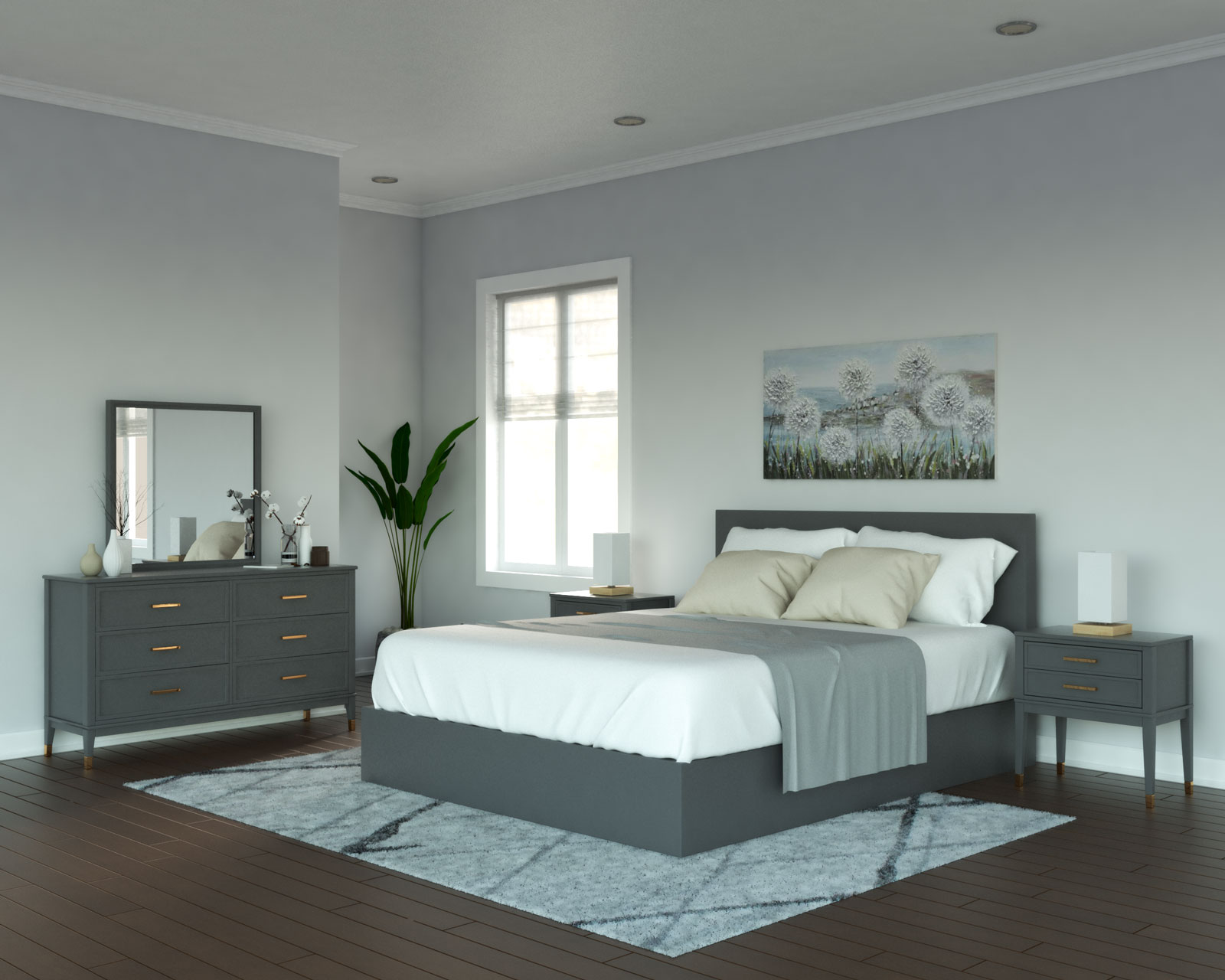 Light gray walls with gray furniture