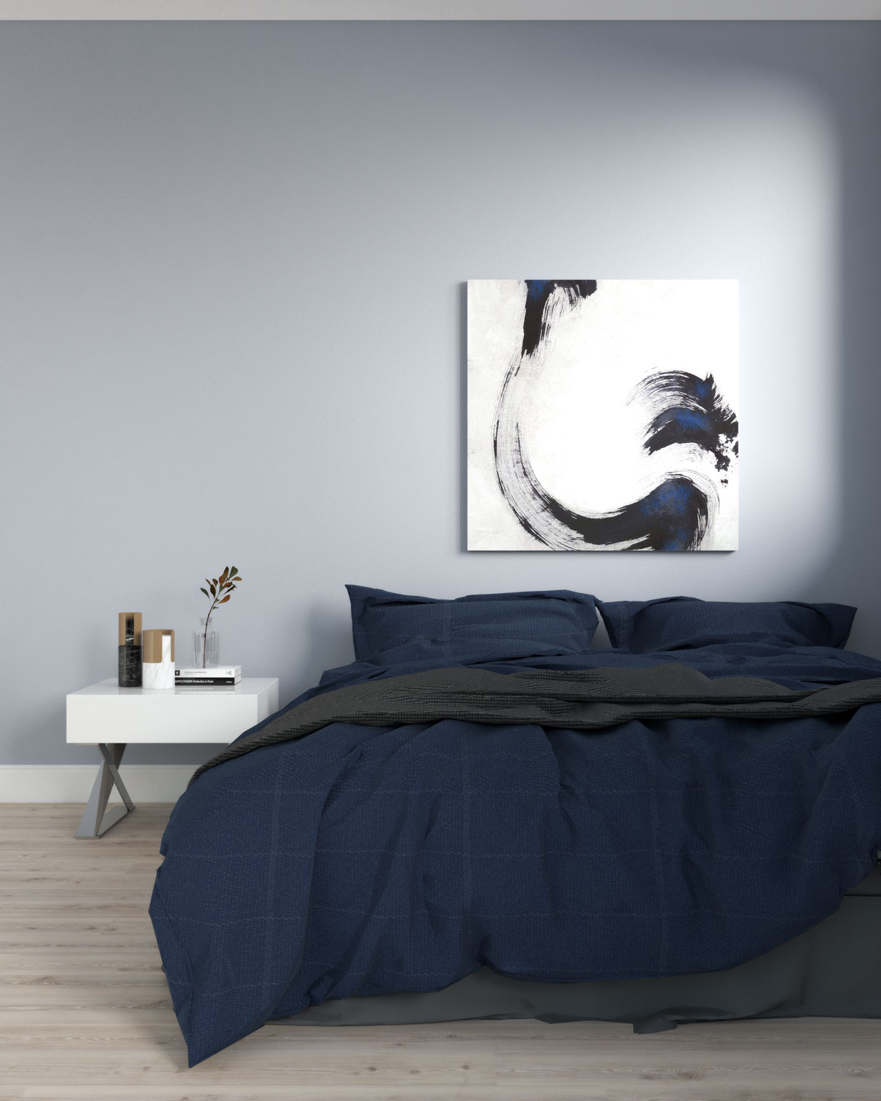 Slate blue walls with navy bedding