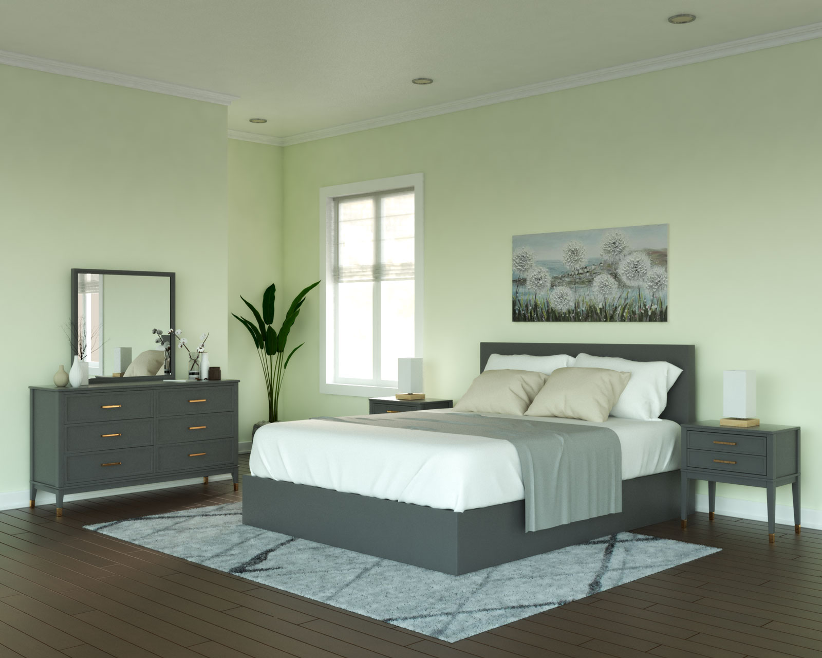 Lime and gray bedroom ideas