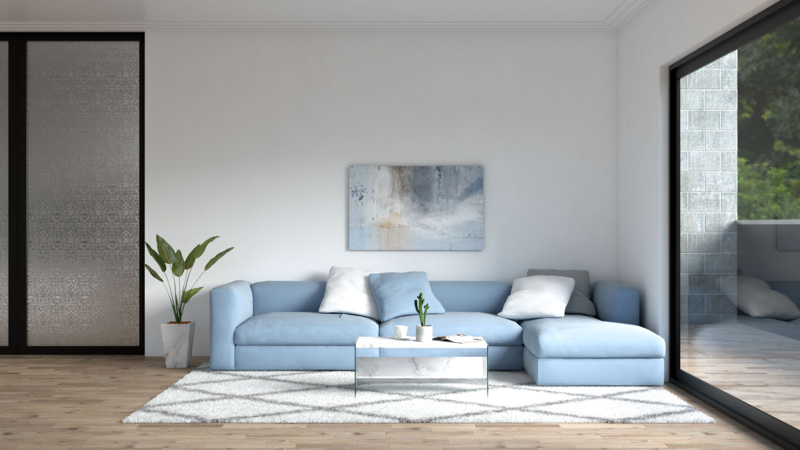 Living room with blue sofa and white accent