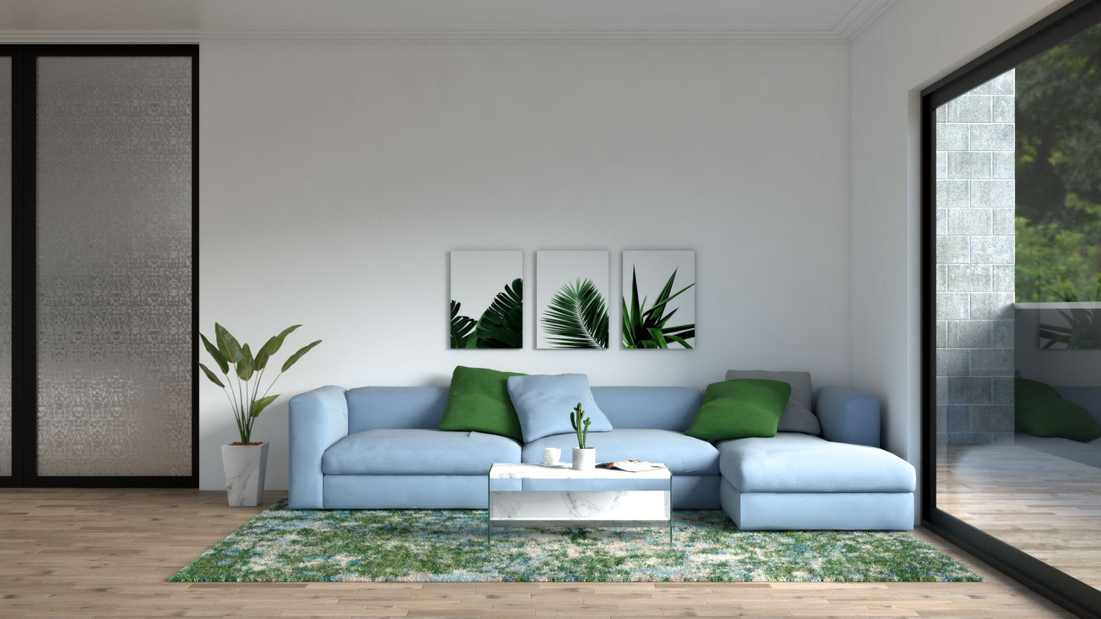 Blue living room with dark green accent
