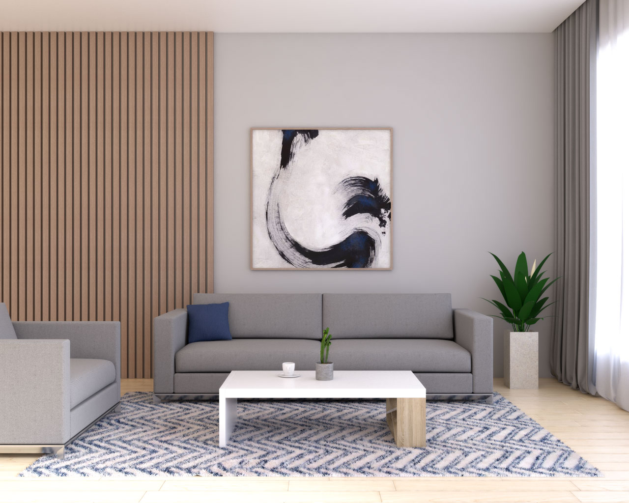 Gray living room with navy accent