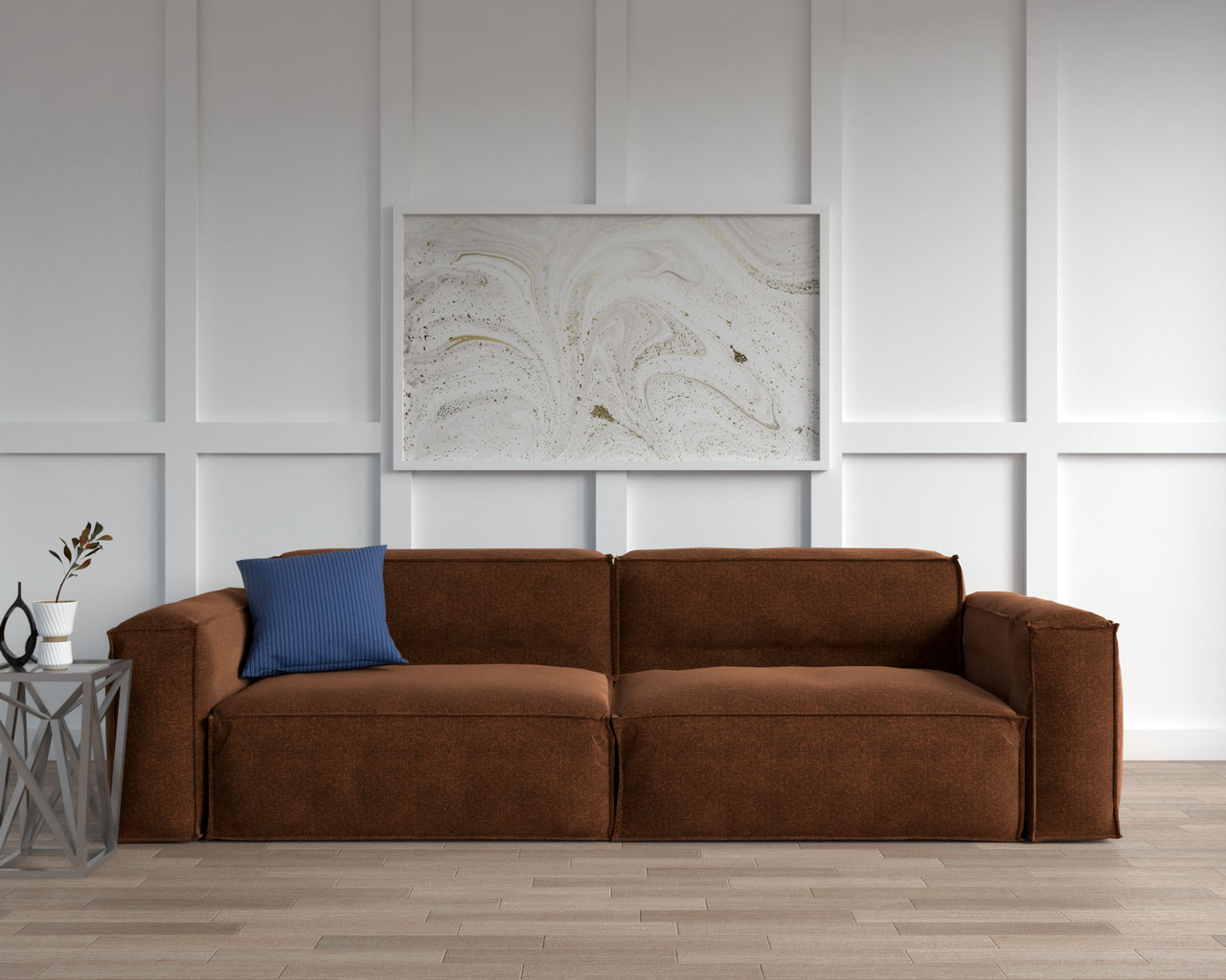 Brown sofa with navy pillow