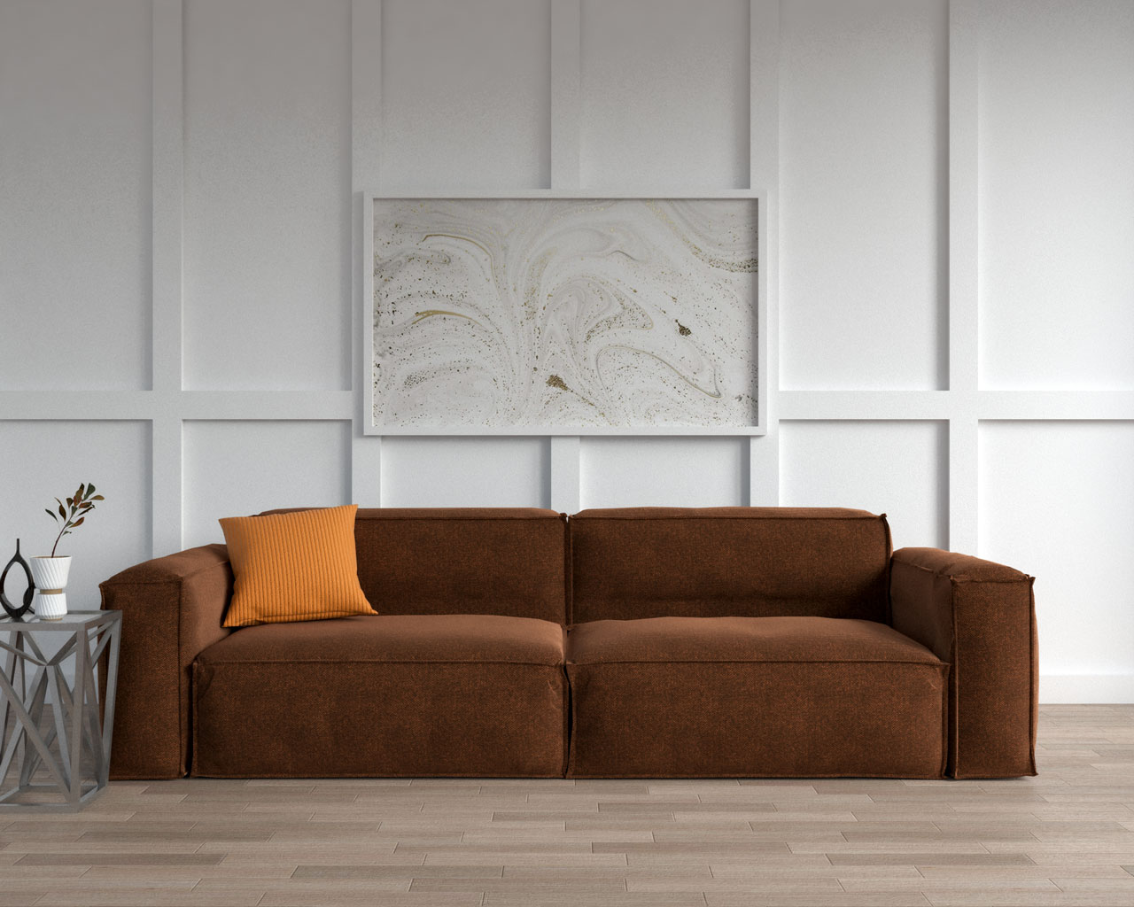Brown sofa with orange decorative pillow