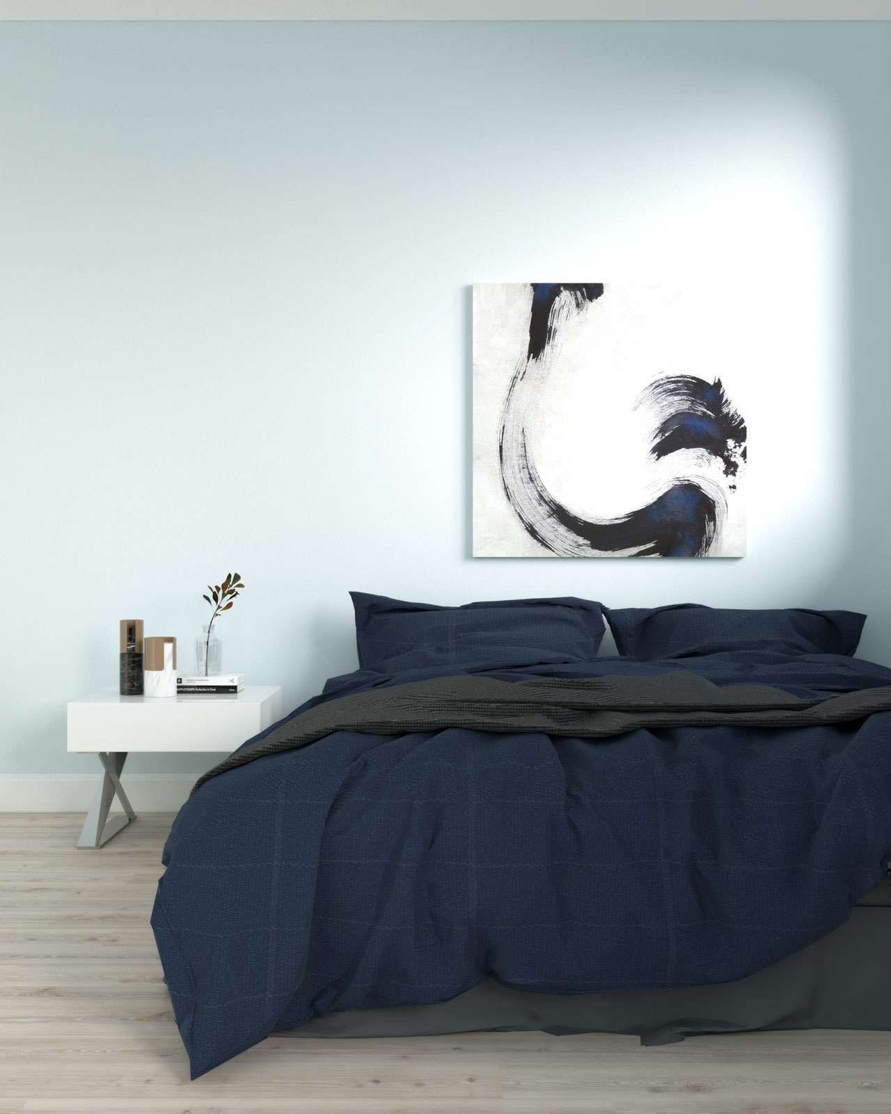 Sky blue bedroom with navy accent