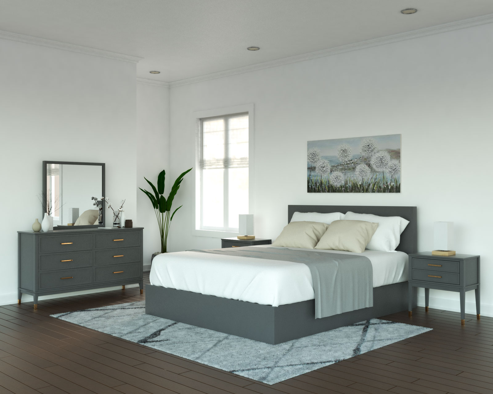 White walls with gray furniture