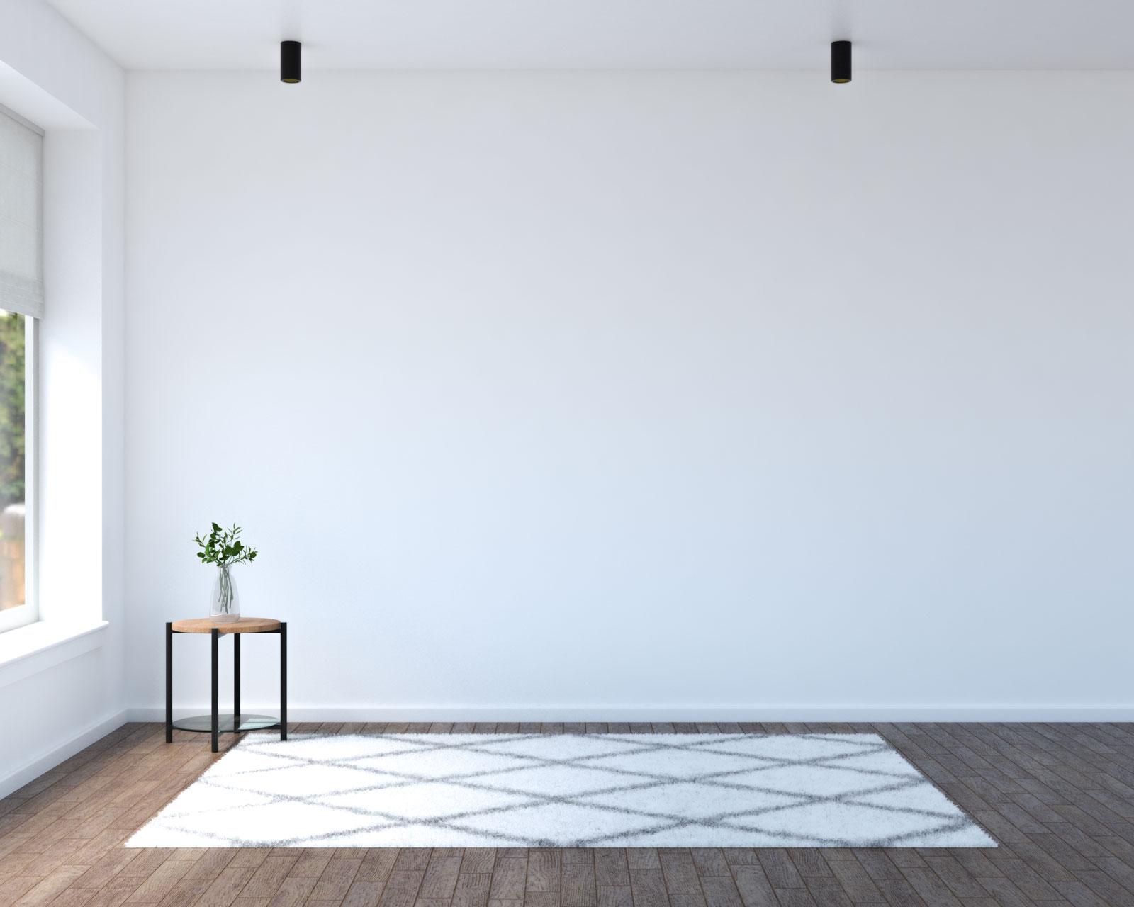 White geometric area rug