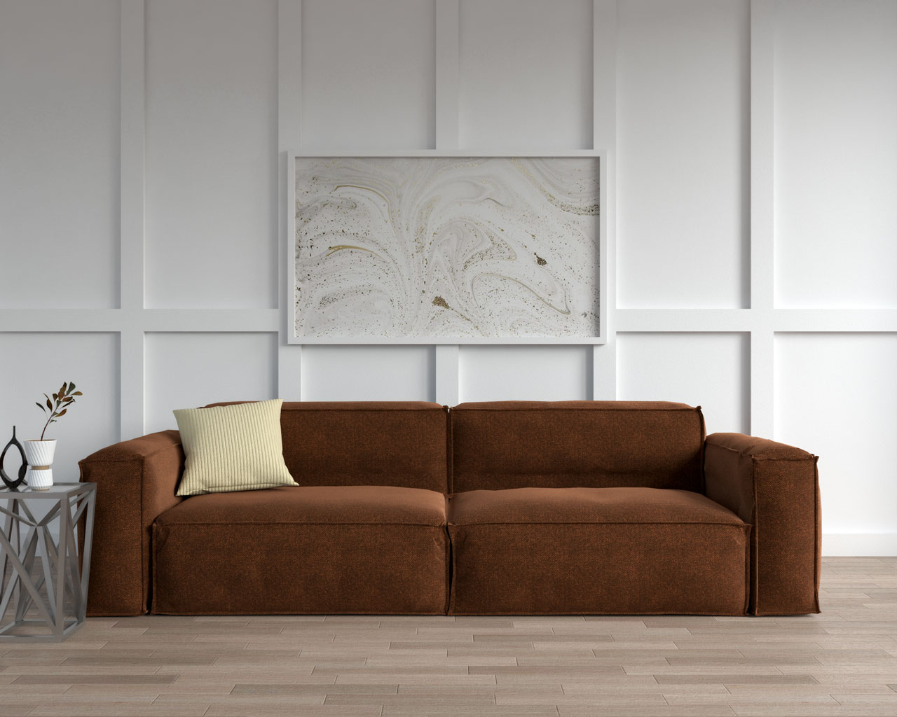 Brown sofa with yellow decorative pillow