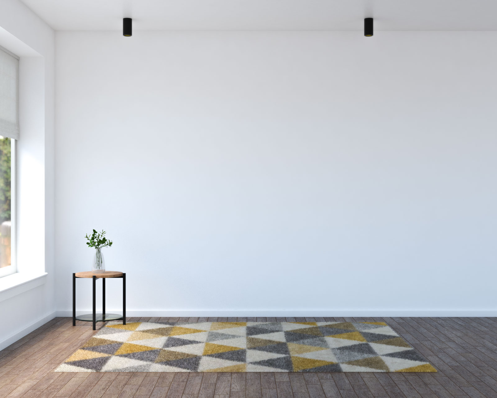 Yellow geometric area rug