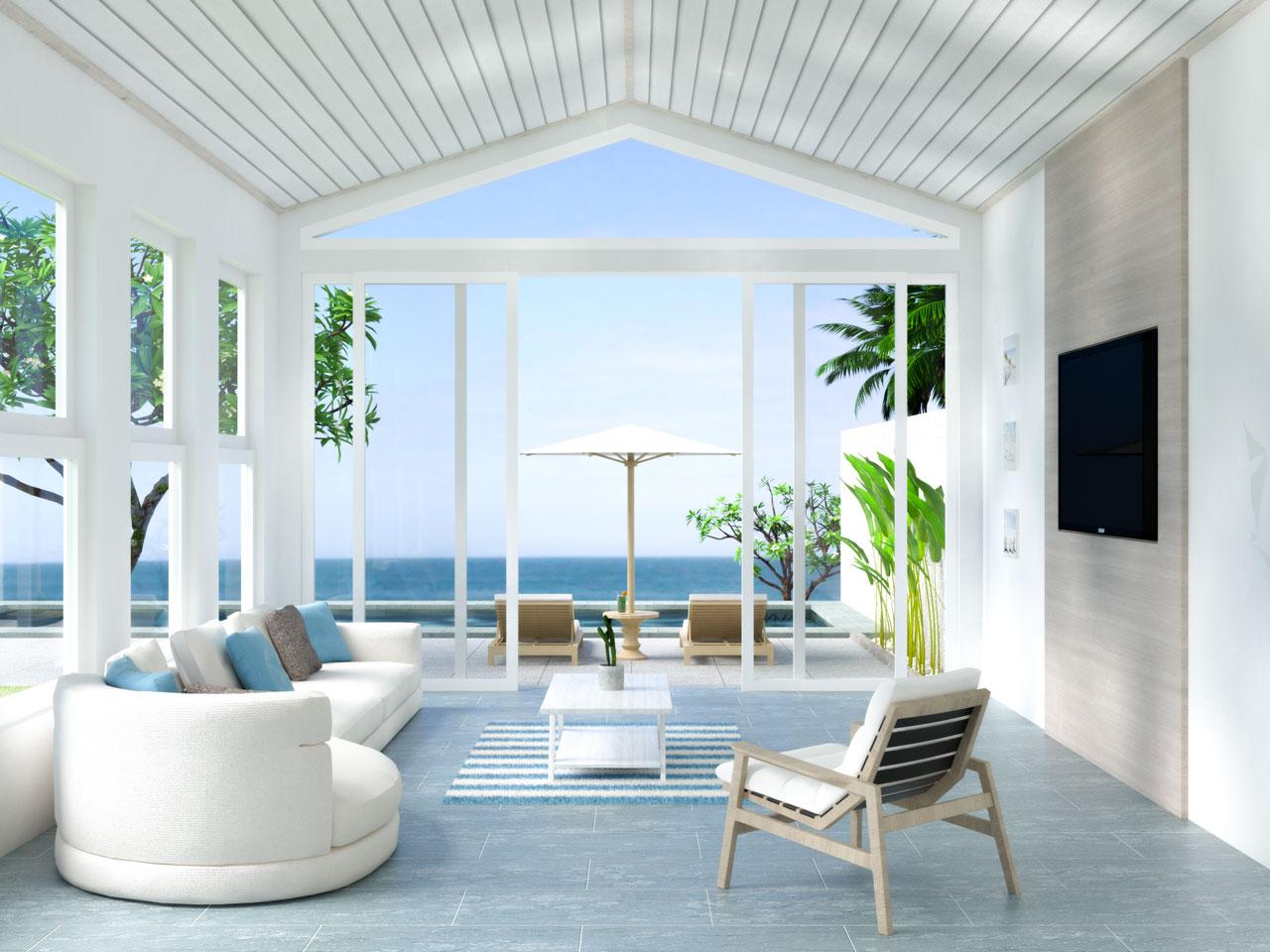 Beach house living room with blue tile flooring