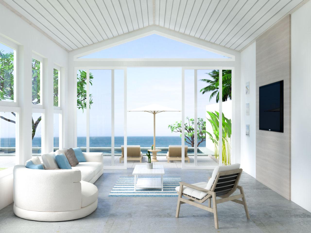 Coastal living room with gray concrete flooring