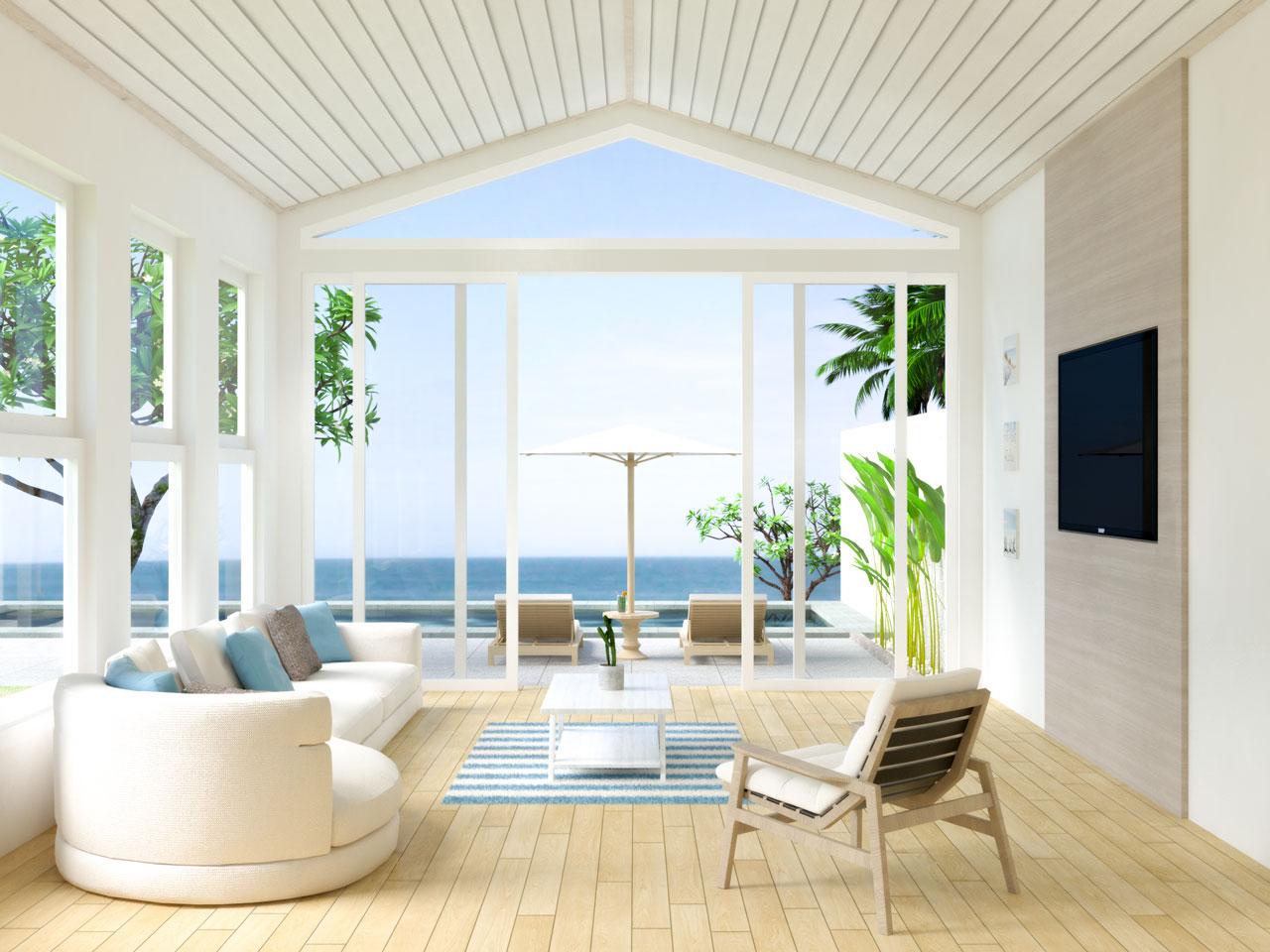 Beach house living room with light natural hardwood flooring