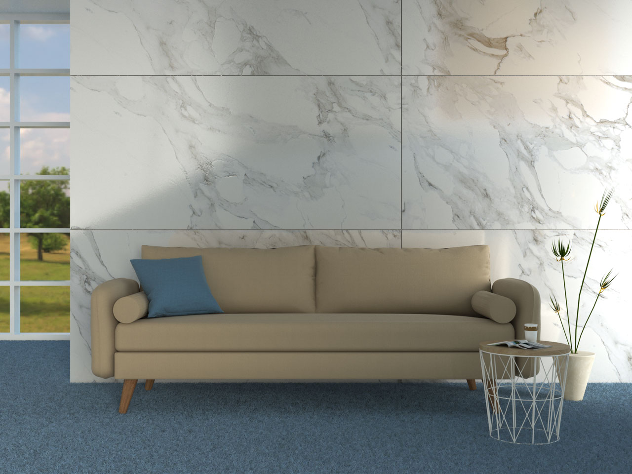 Beige couch with blue carpet