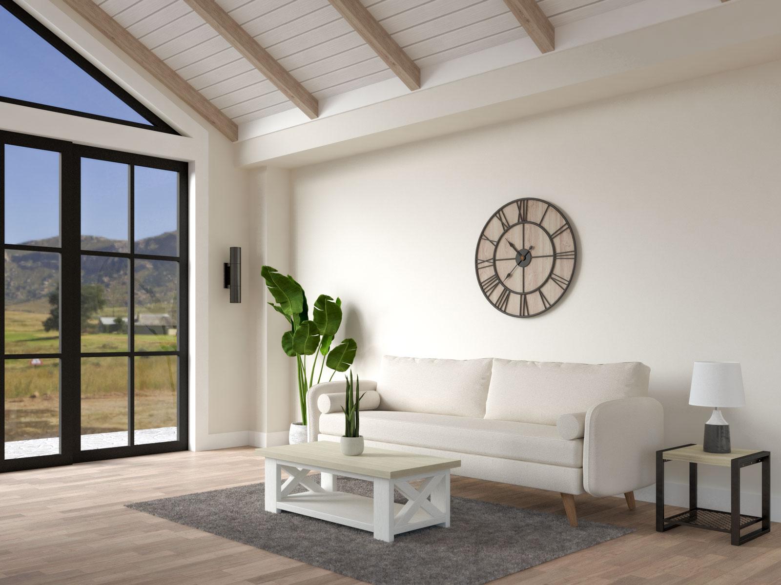 Stone beige walls in farmhouse living room