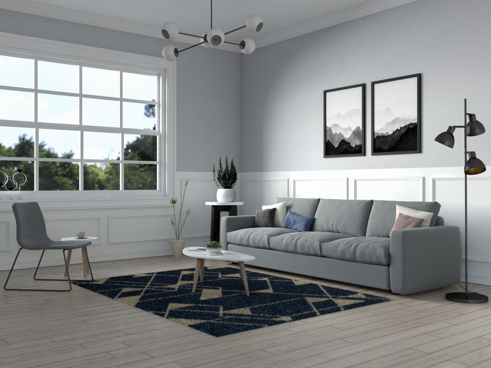 Beige and navy scandinavian style rug by well woven