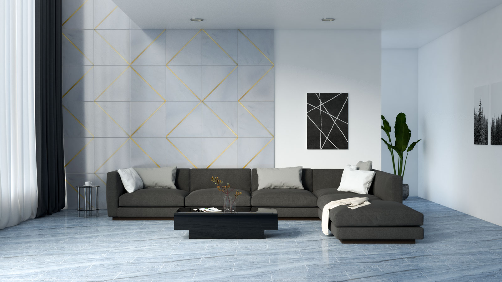 Living room with black furniture and blue tile flooring
