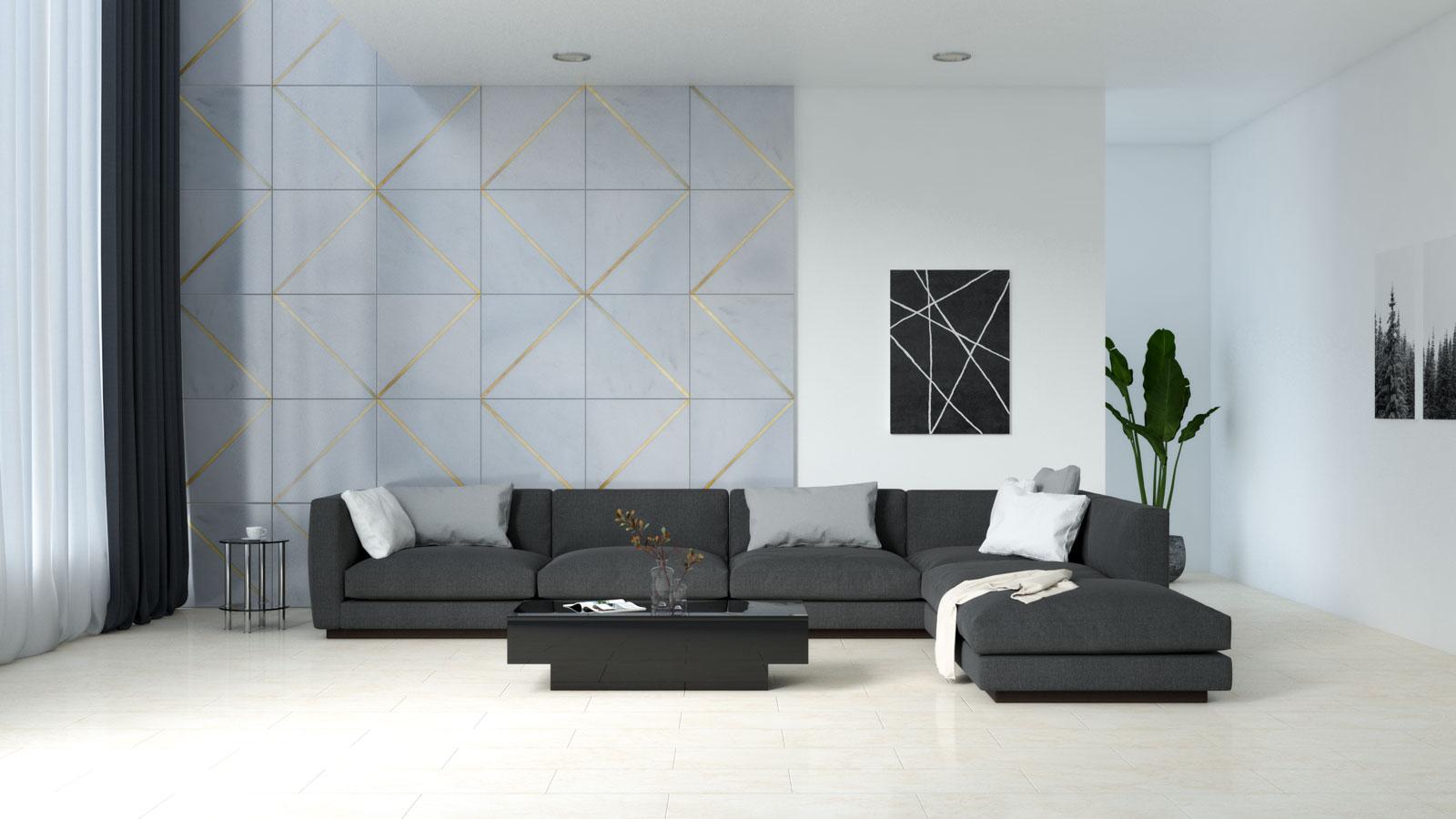 Black furniture with cream tile flooring