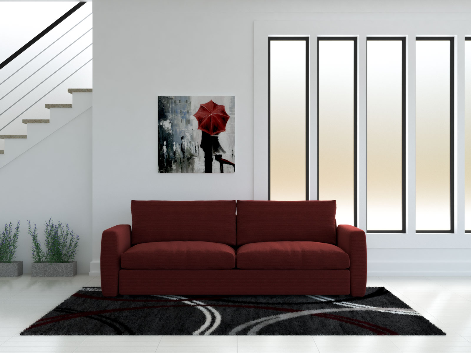 Red sofa with black and red rug
