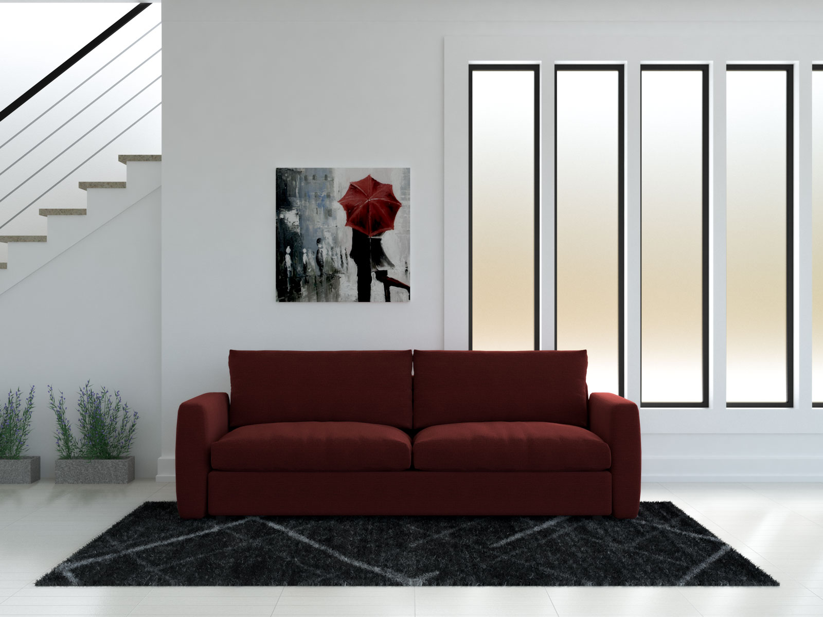 Red couch with black rug