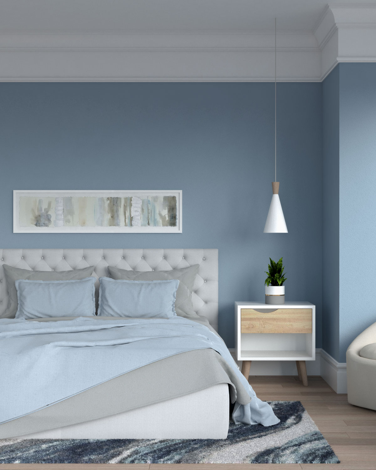 Blue and gray bedding in blue bedroom