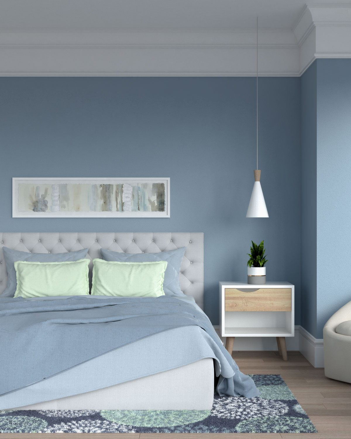 Blue bedroom with sage accents