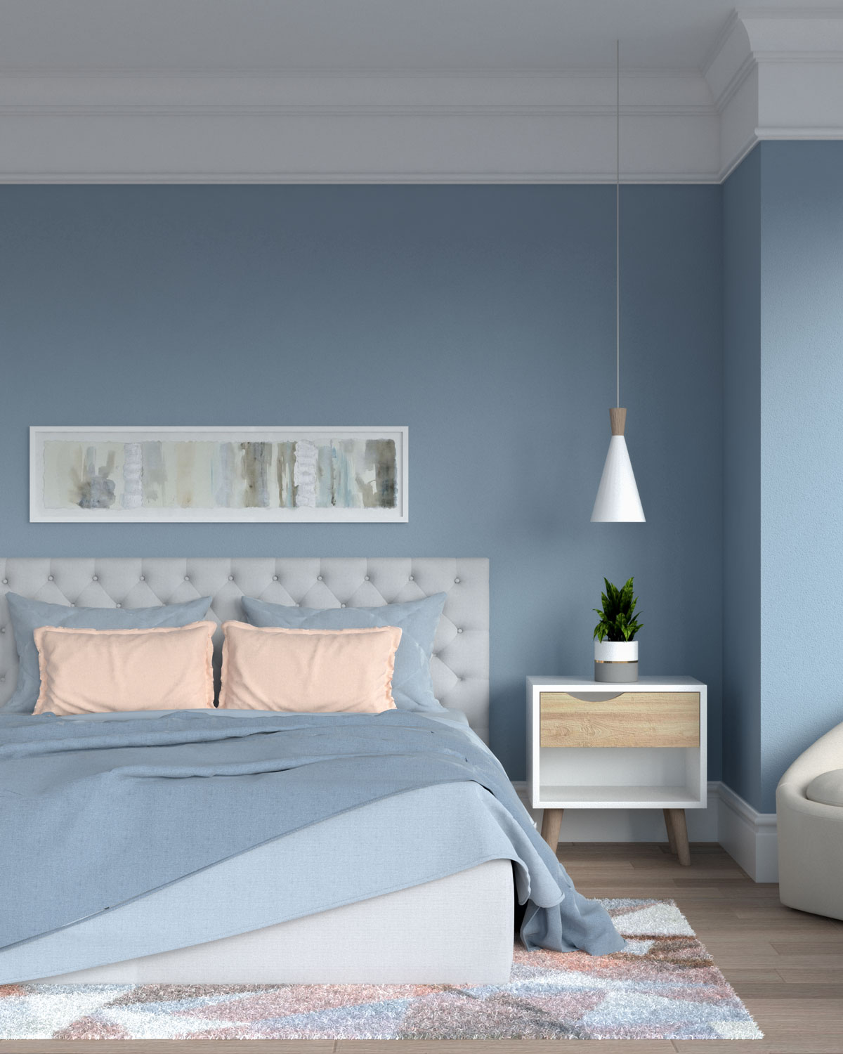 Blue and blush bedding with blue walls