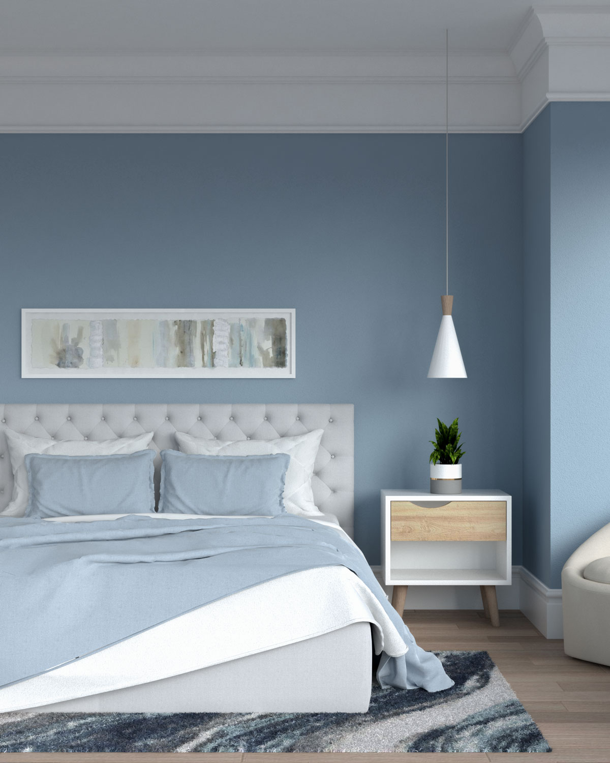 White and blue bedding with blue walls