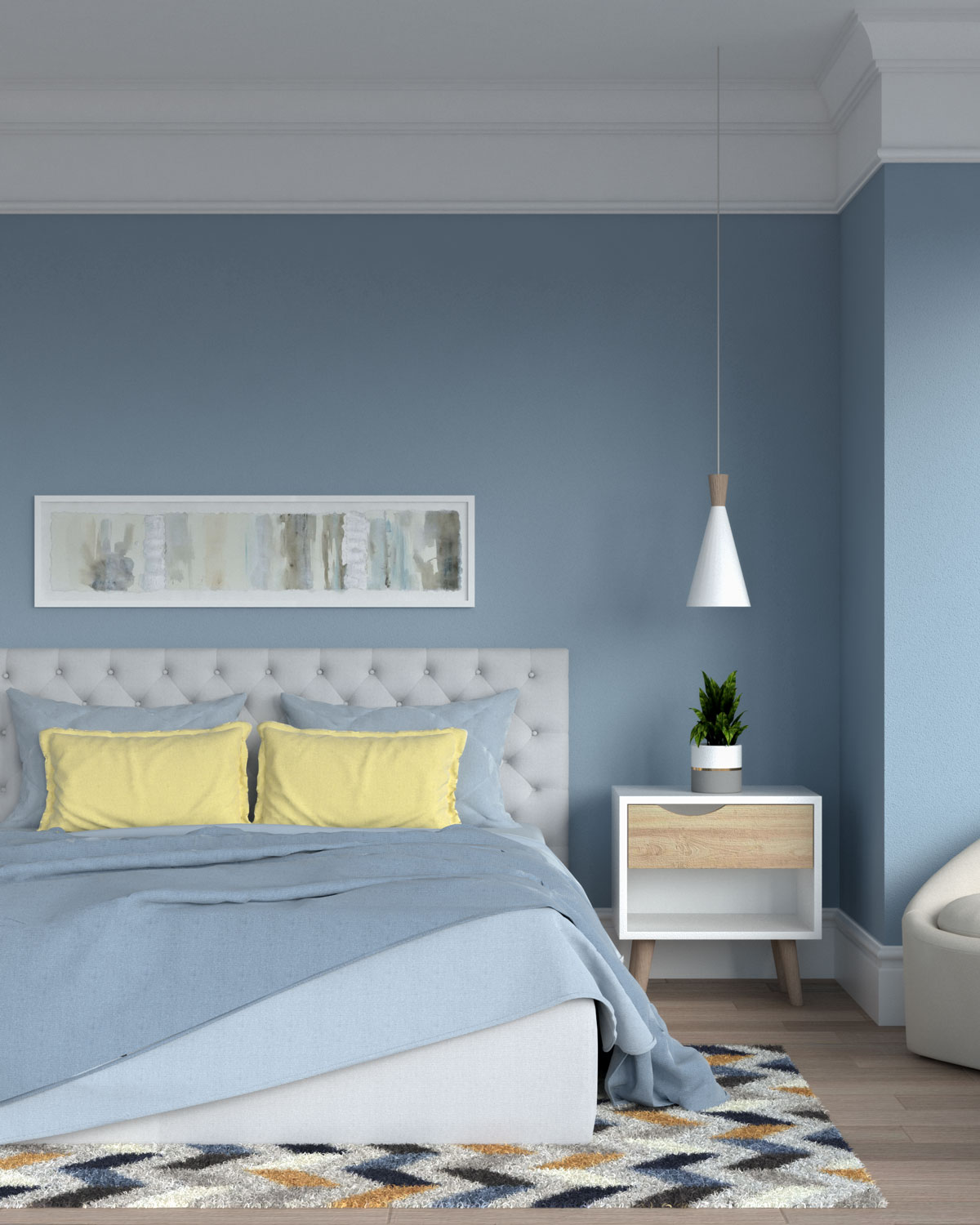 Blue bedroom with yellow accent
