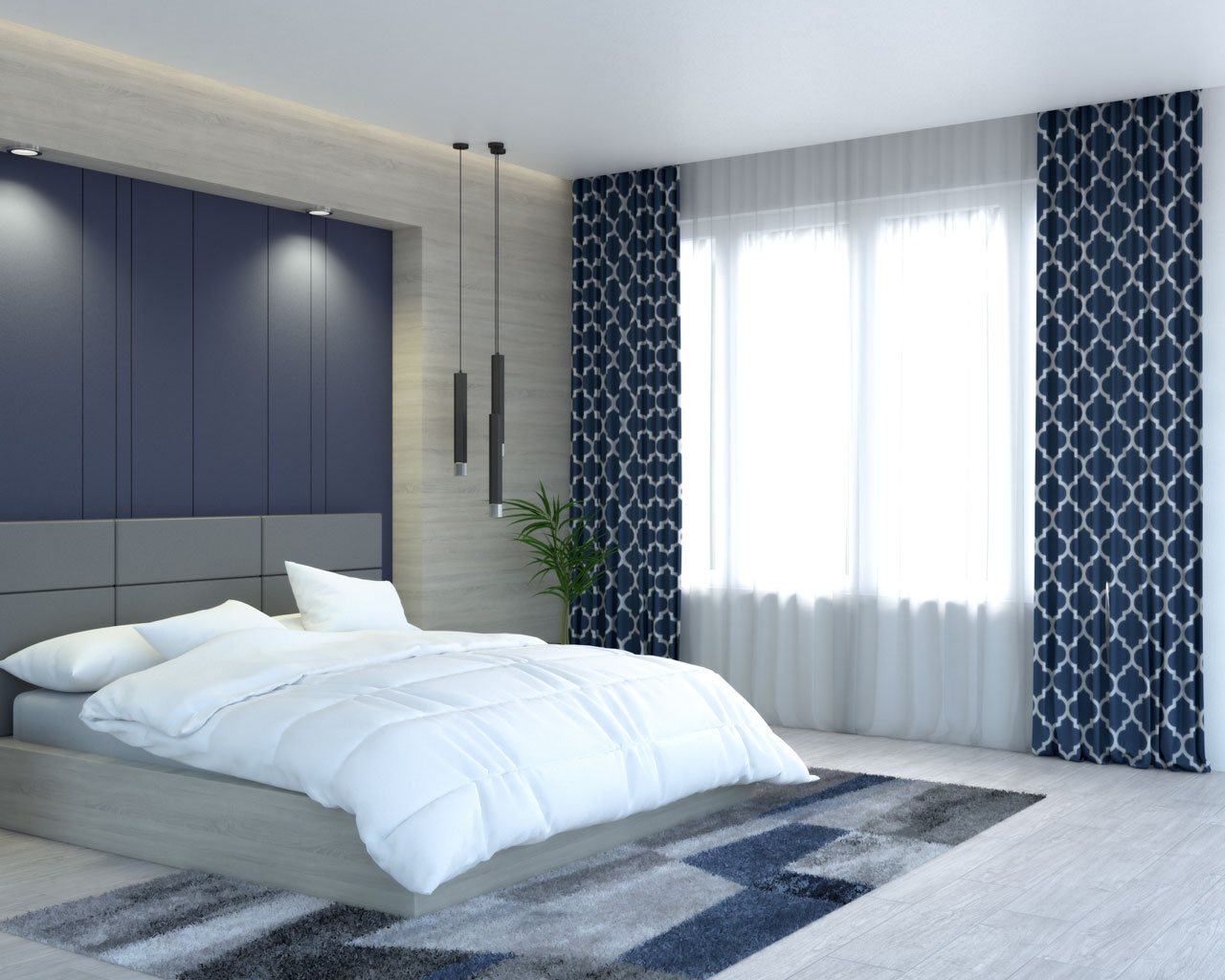 Blue and white gometric lattice curtains by HLC.ME store
