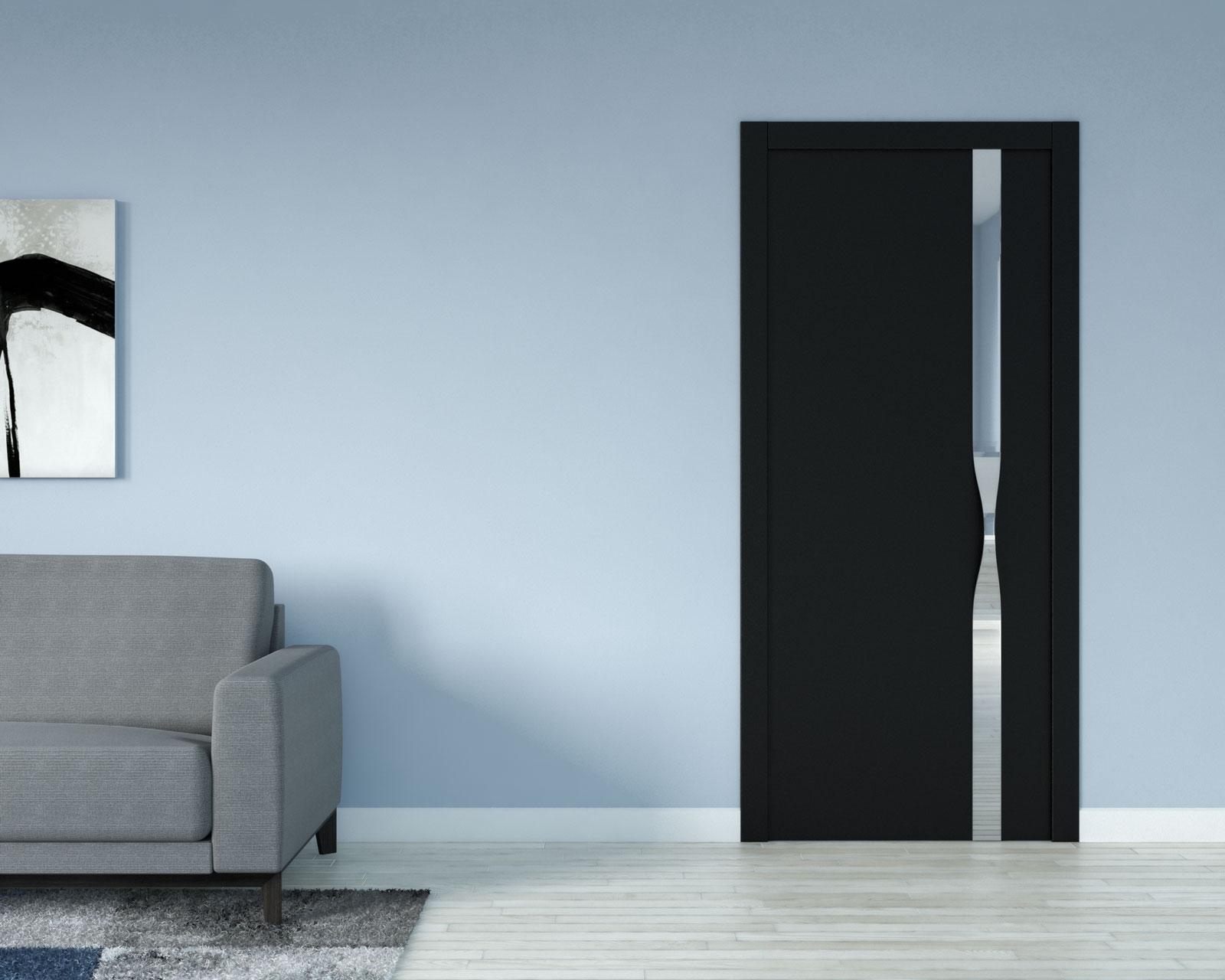Blue wall with black door