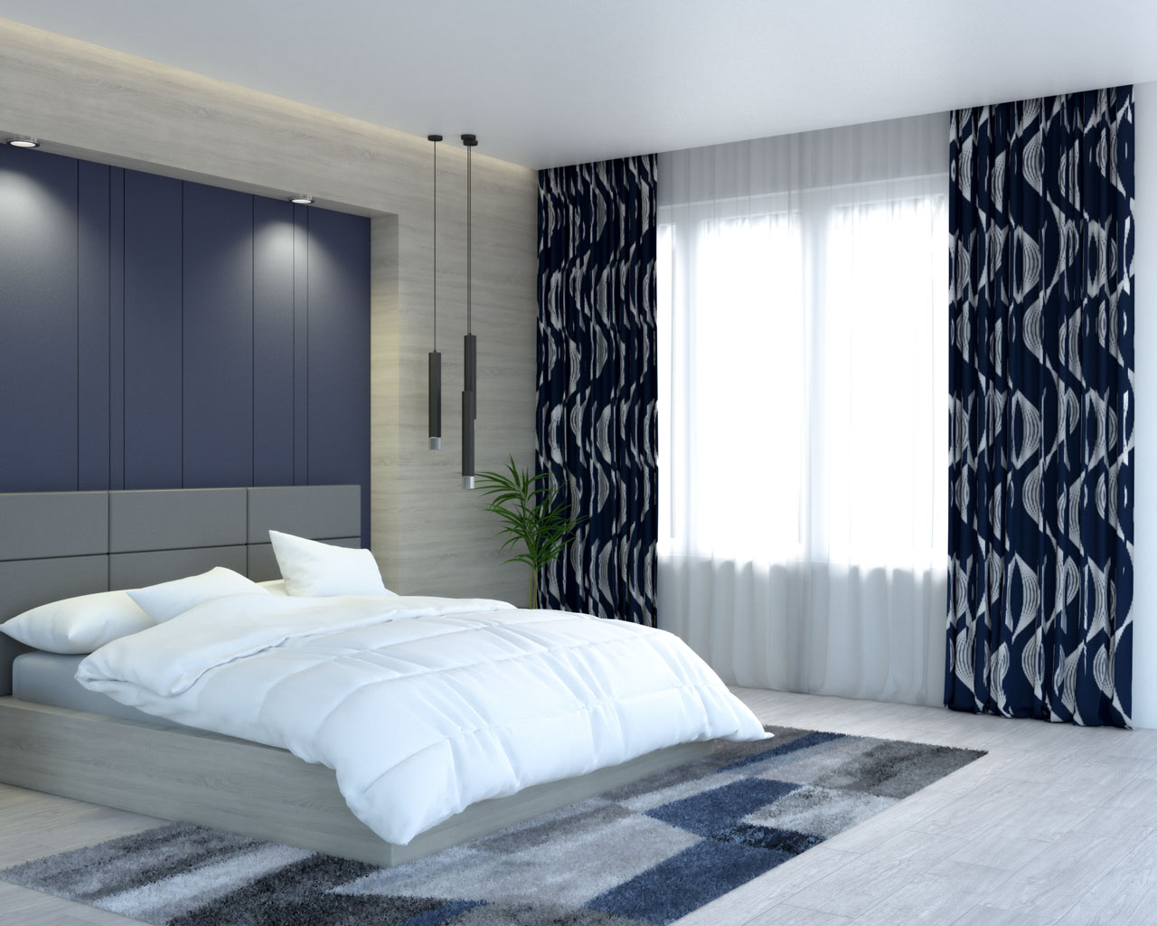 Navy blue wave striped curtains by deconovo store