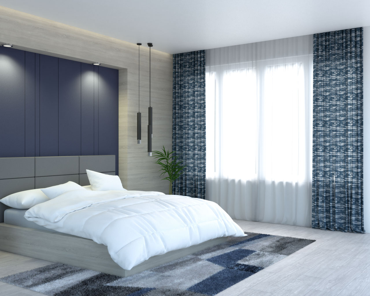 Dusty blue curtains with weave pattern by Vangao