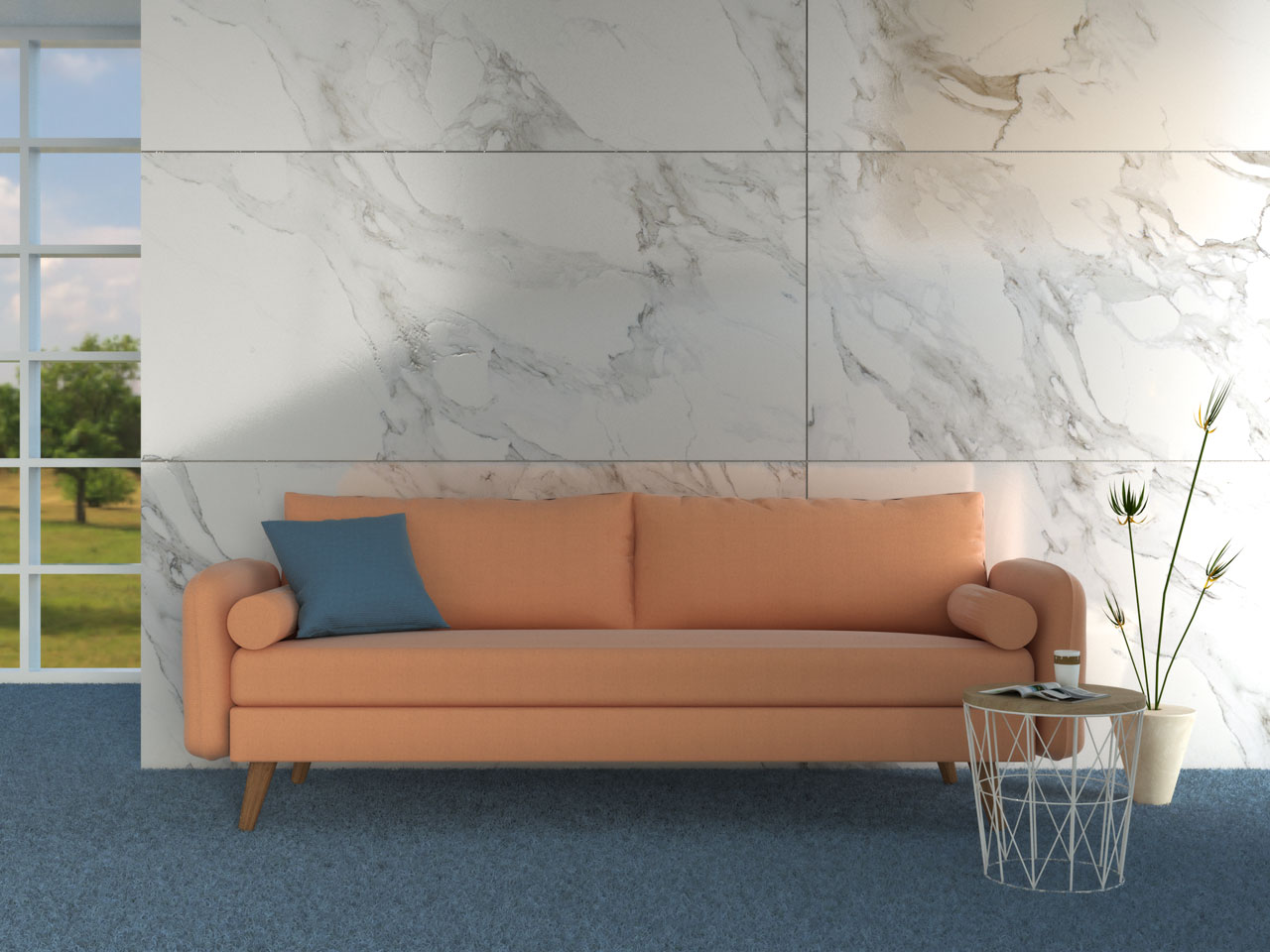 Blush couch with blue carpet floors