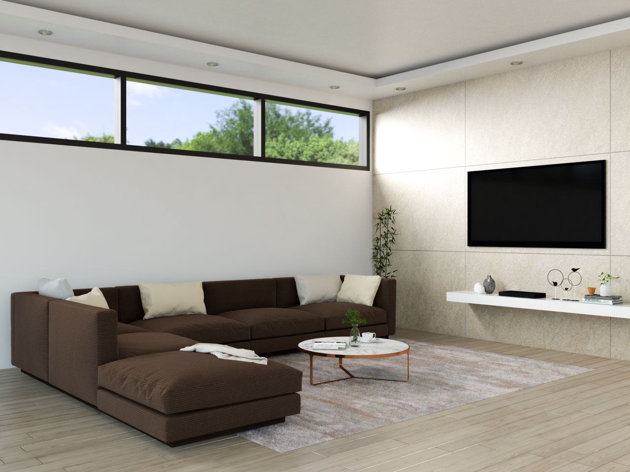Living room with brown sofa and cream accent
