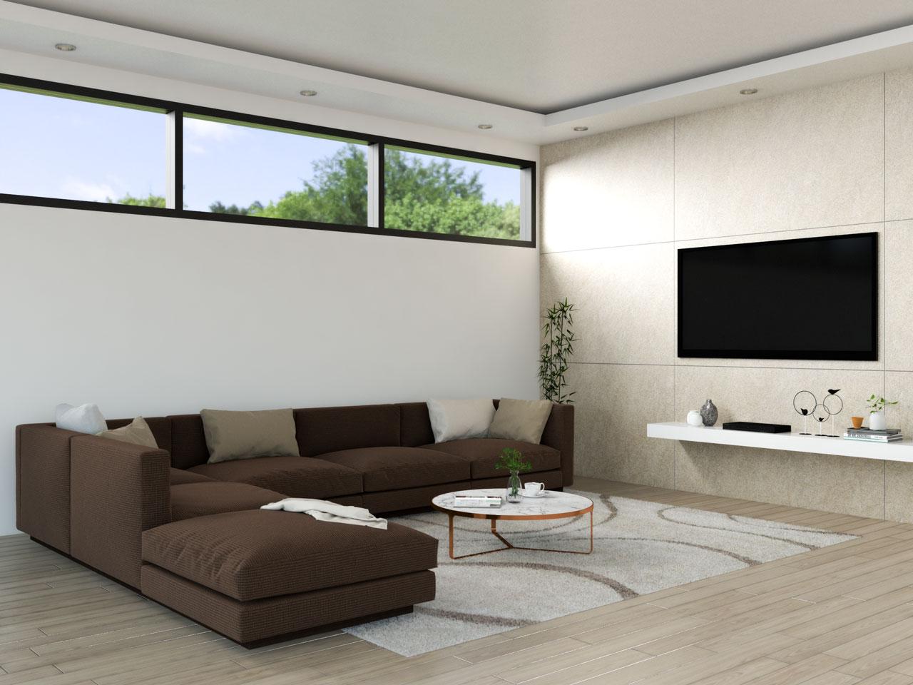 Elegant monocromatic brown living room ideas