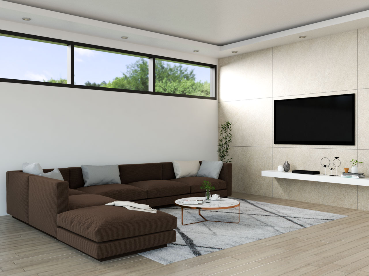 Brown sofa with light gray accents