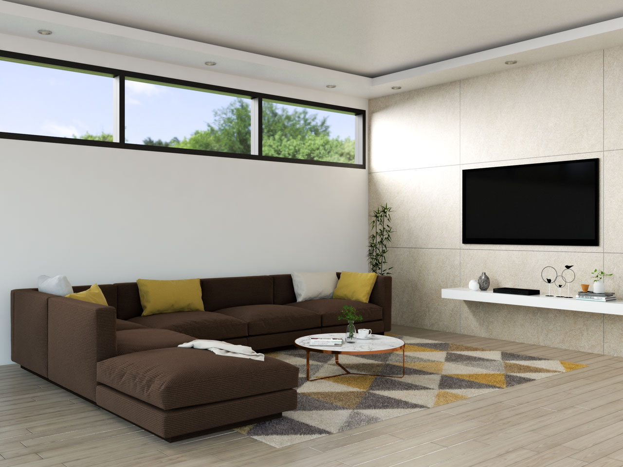 Living room with brown sofa and yellow accents