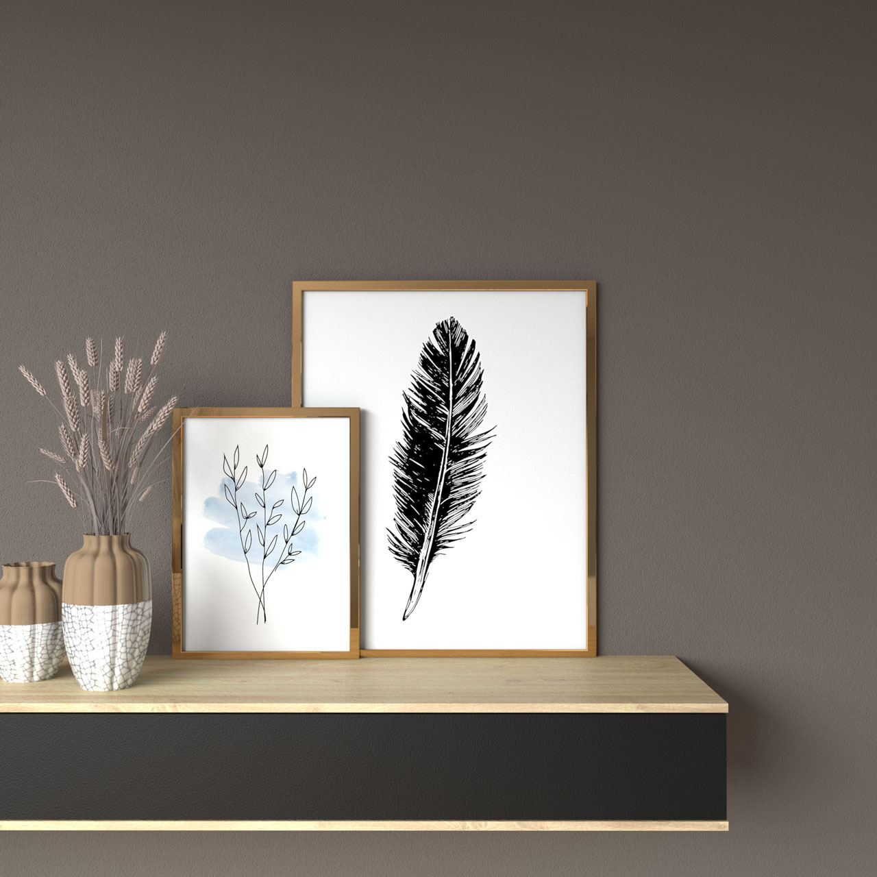 Brown wall with gold framed artwork