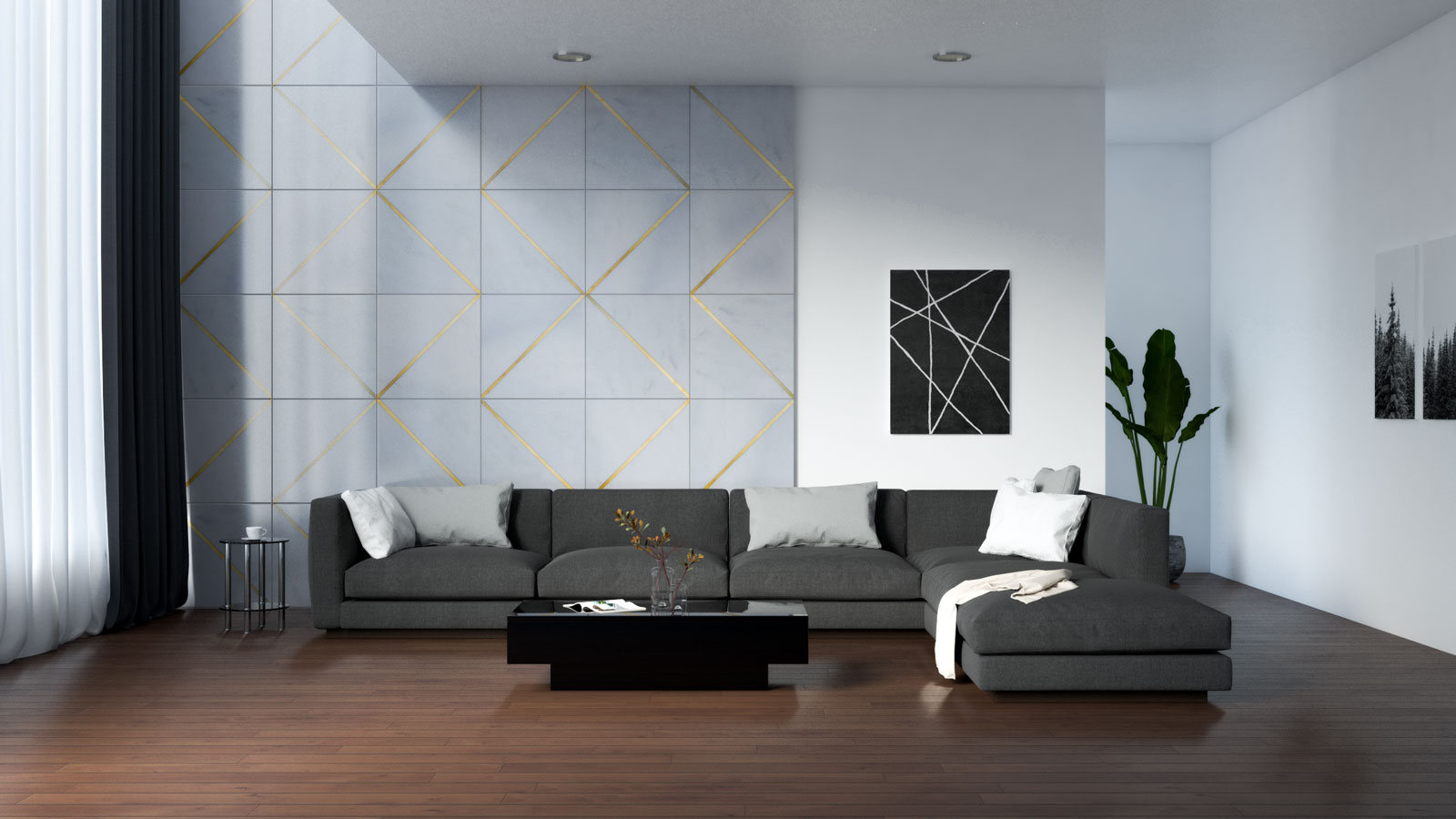 Brown flooring with black furnishings