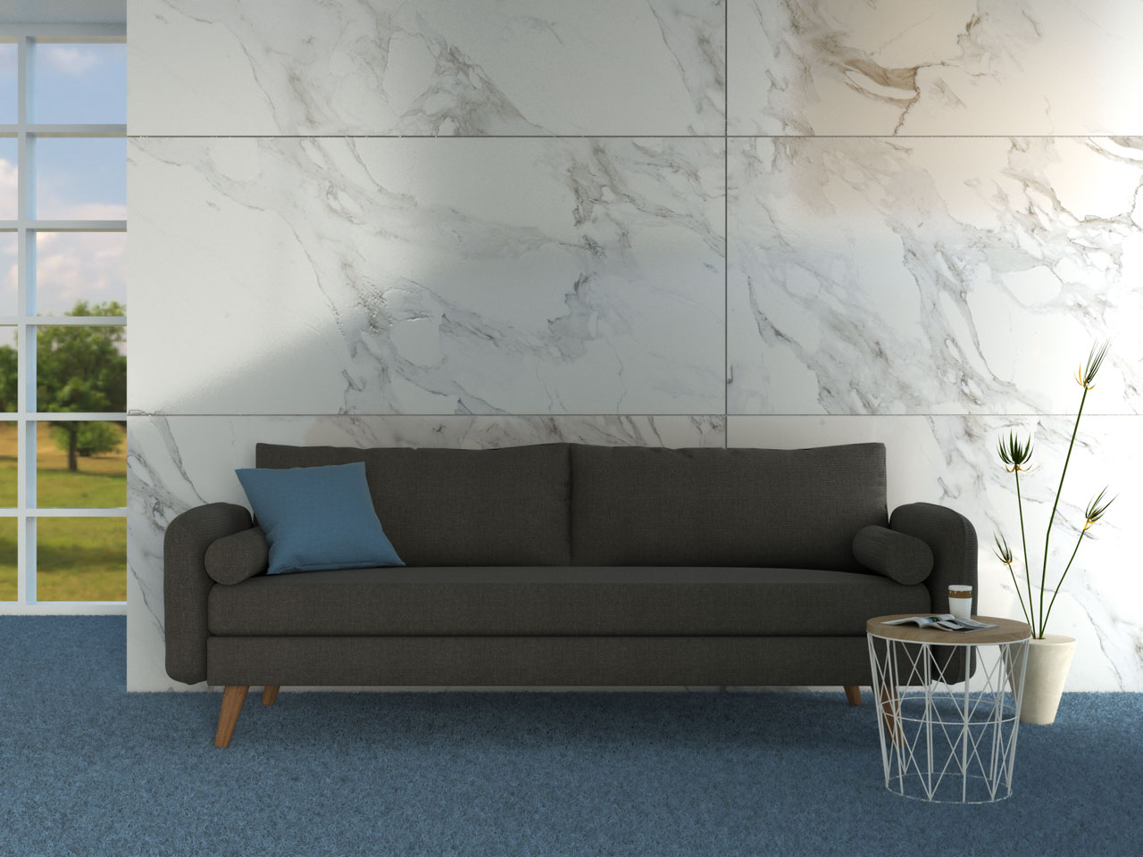 Charcoal sofa with blue carpet