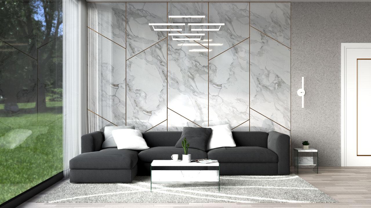 Dark grey sofa with white pillow