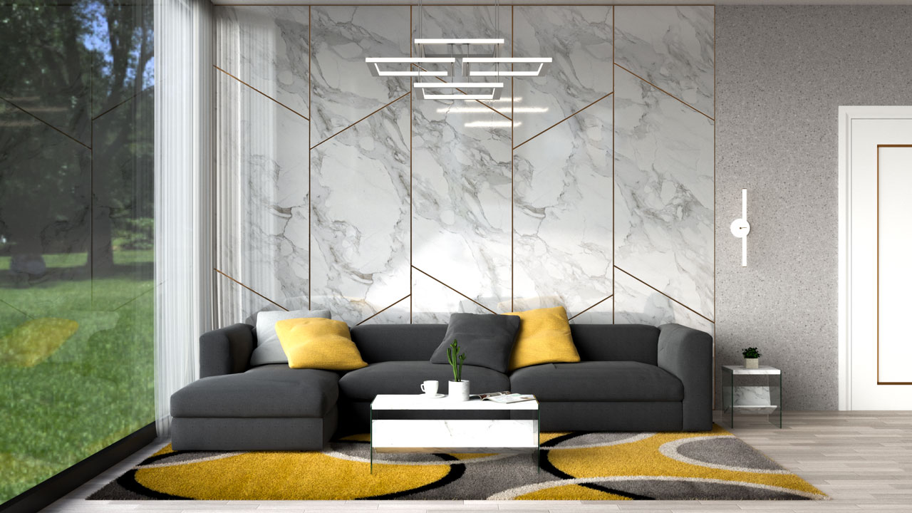 Dark gray sofa with yellow accents