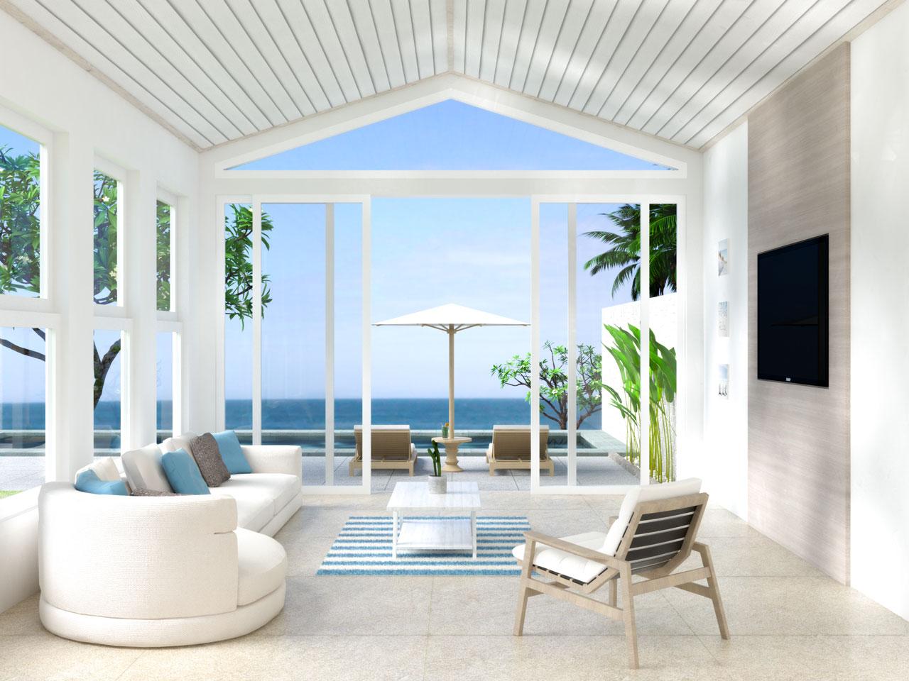 Coastal living room with cream flooring