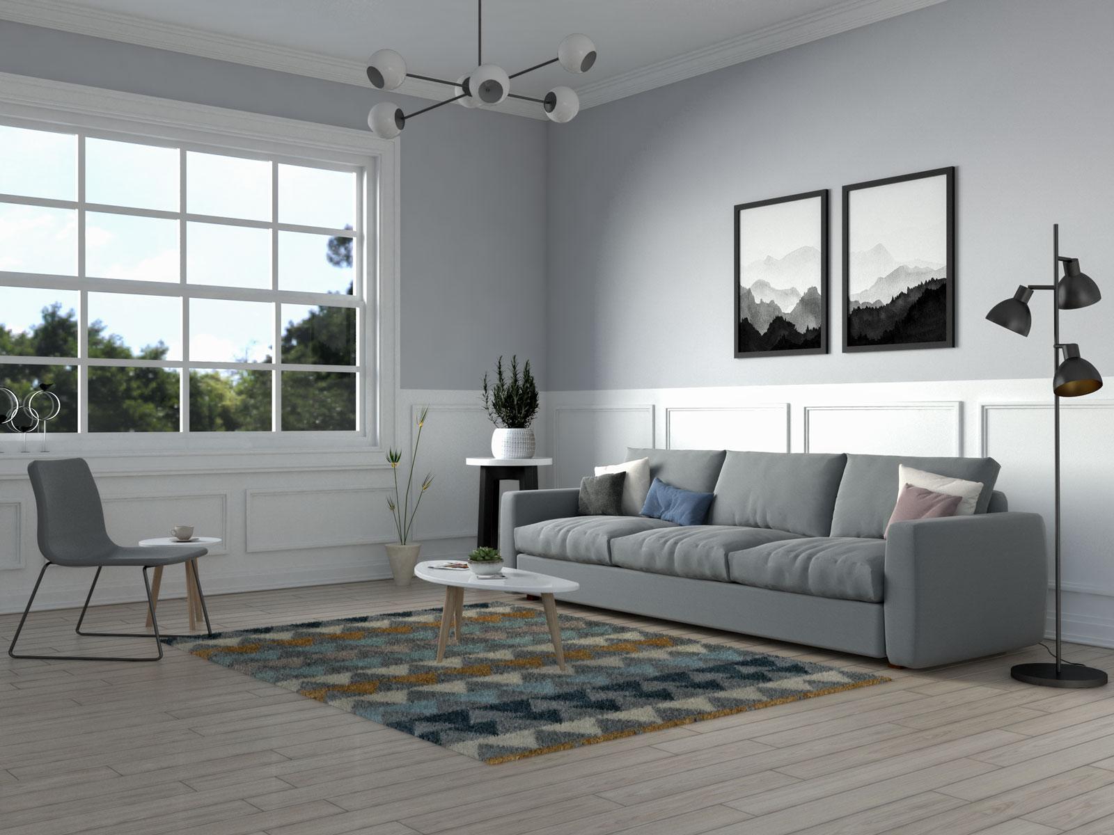Triangle geometric pattern scandinavian living room