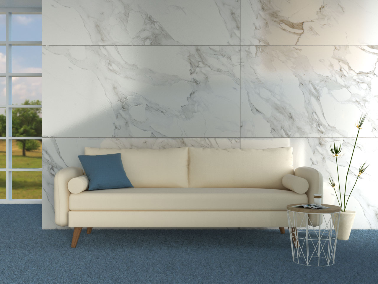 Cream couch with blue flooring
